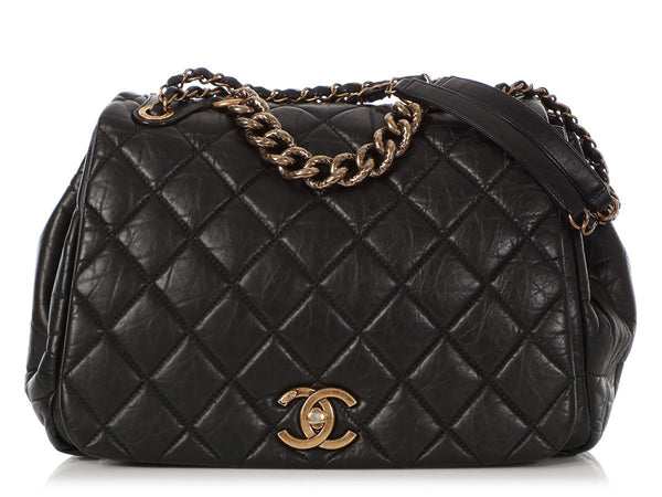 Chanel Large Black Distressed Calfskin Pondicherry Flap
