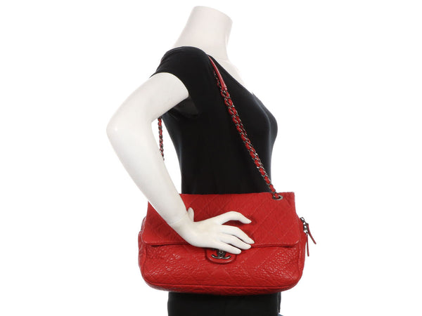 Chanel Jumbo Red Distressed Quilted Calfskin Easy Flap