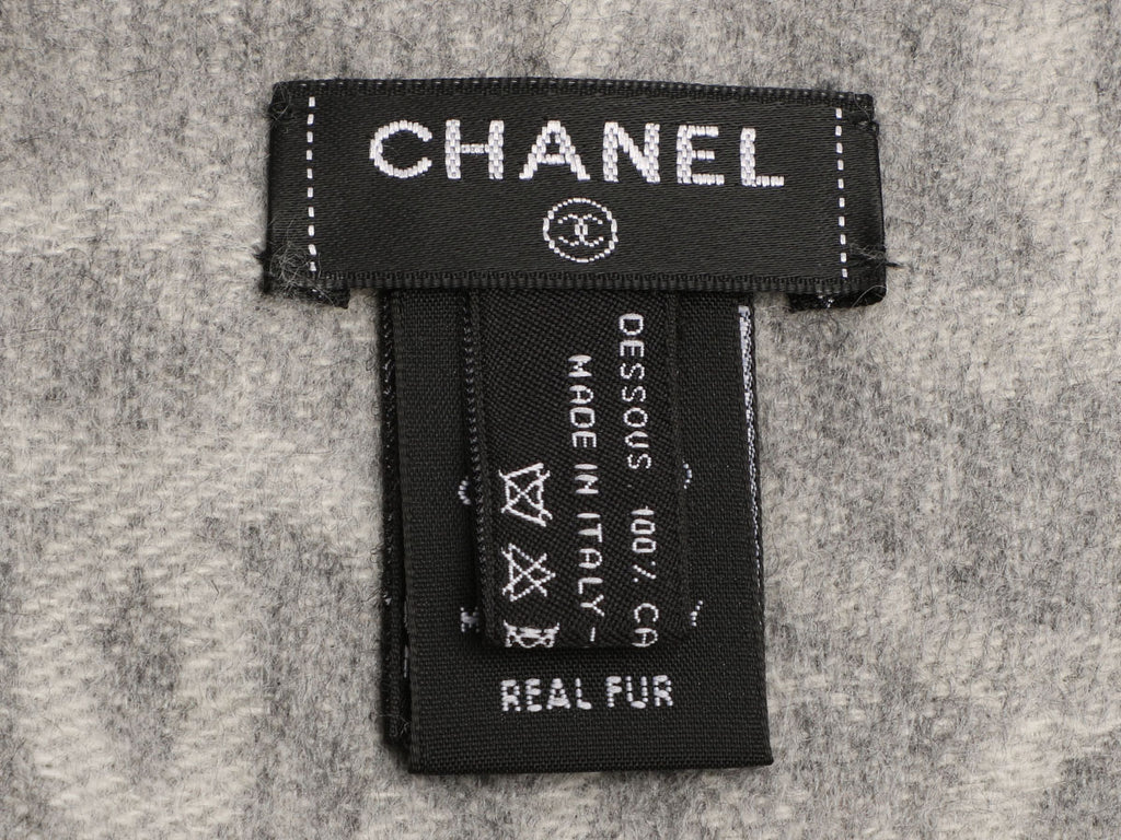 Chanel Gray Orylag Fur and Cashmere Stole