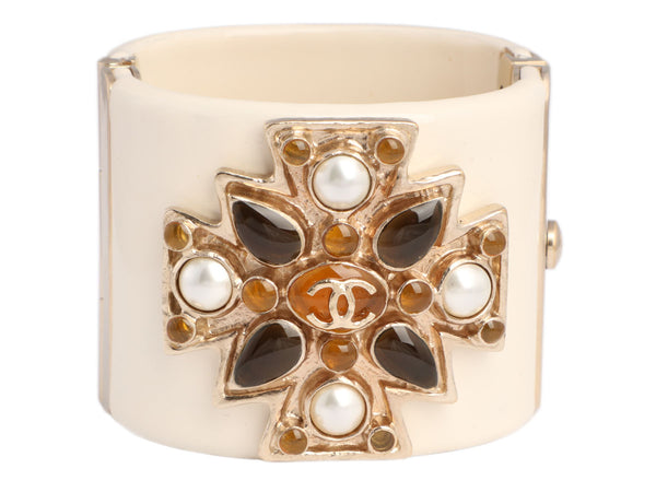 Chanel Off-White Resin Multistone Logo Maltese Cross Cuff