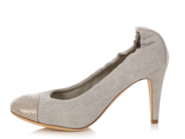 Chanel Gray Fabric and Snake Ballet Pumps