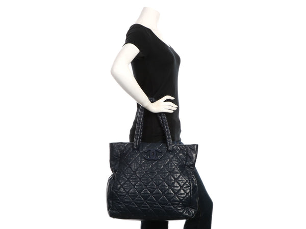 Chanel Navy Distressed Quilted Calfskin Hidden Chain Bag