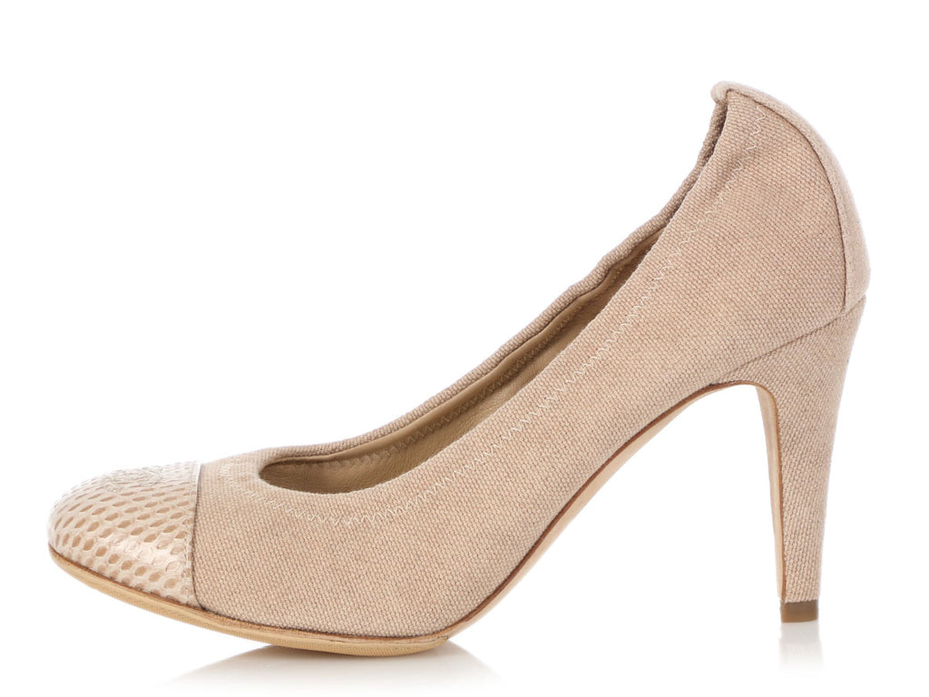 Chanel Beige Canvas and Snakeskin Ballet Pumps