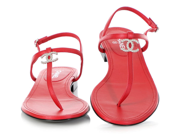 Chanel Red Leather Thong Sandals