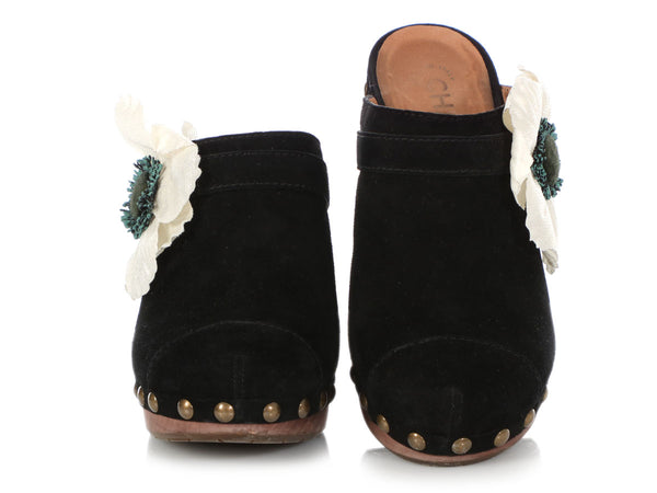 Chanel Black Suede Flower Clogs