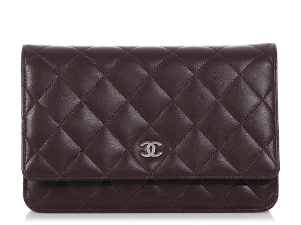 Chanel Plum Quilted Lambskin Wallet on a Chain WOC