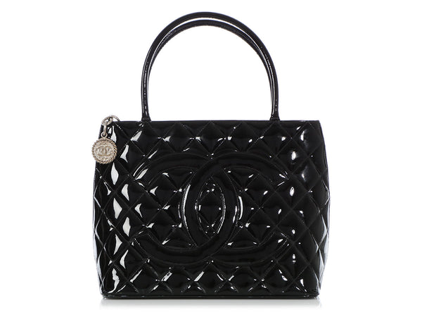 Chanel Black Patent Medallion Tote