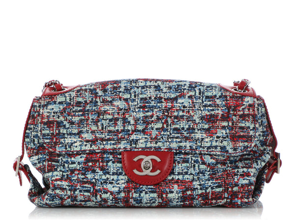 Chanel Red Leather and Tweed Flap