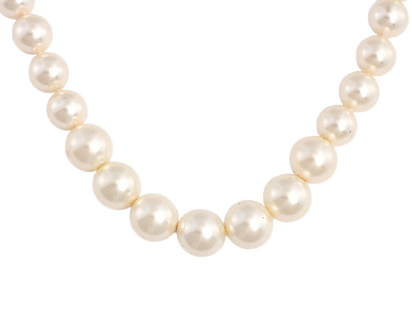 Chanel Long Gold-Tone Faux Pearl Logo Necklace