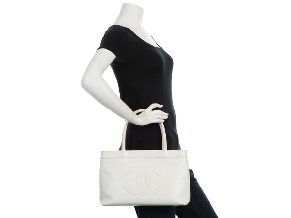 Chanel Small White Caviar Tote