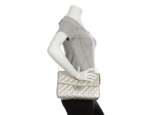 Chanel Metallic Silver Quilted Calfskin Reissue Clutch