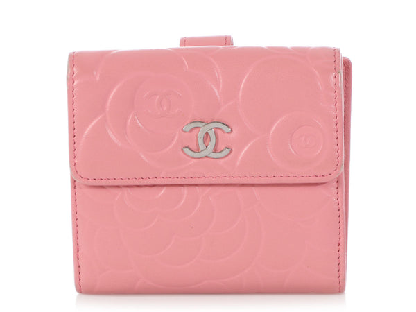 Chanel Pink Embossed Calfskin Camellia Compact Wallet