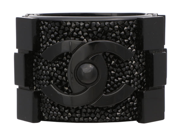 Chanel Limited Edition Black Crystal Lego Brick Boy Cuff