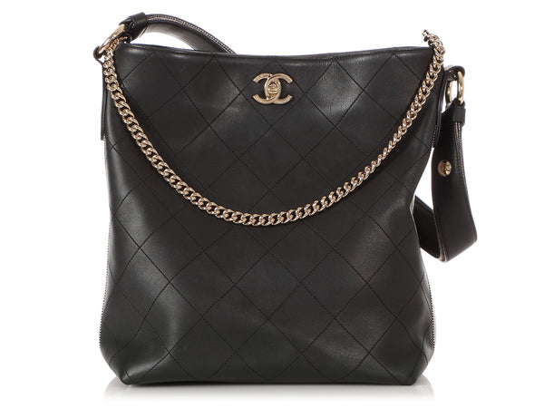Chanel Black Quilted Calfskin and Grosgrain Hobo