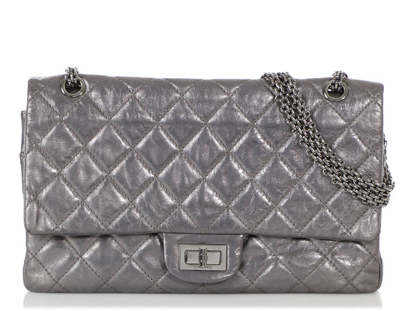 Chanel Blue-Gray Metallic Quilted Distressed Calfskin Reissue 227