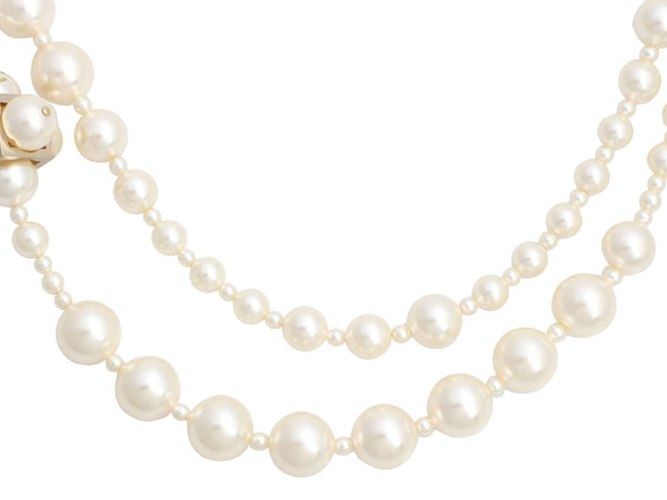 Chanel Long Gold-Tone Double Strand Faux Pearl Necklace