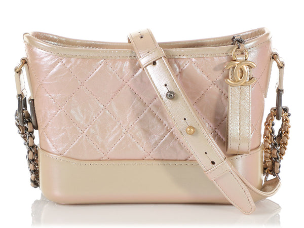 Chanel Small Pink Iridescent Part-Quilted Calfskin Gabrielle Hobo