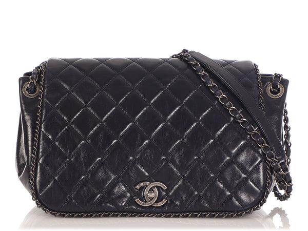 Chanel Navy Quilted Distressed Calfskin Chain Flap