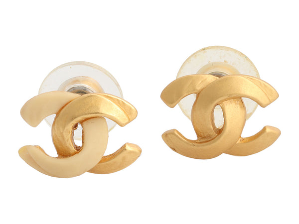 Chanel Vintage Gold-Tone Resin Logo Pierced Earrings