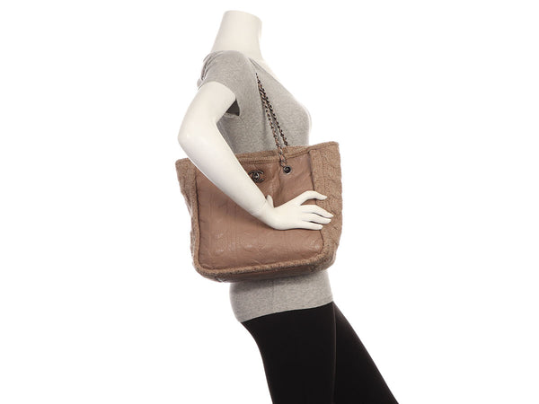 Chanel Tan Twisted Sheepskin and Wool Tote