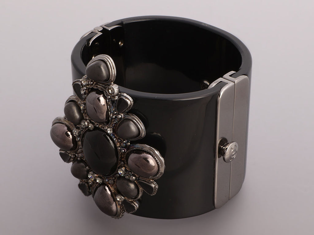 Chanel Wide Silver-Tone and Resin Bracelet