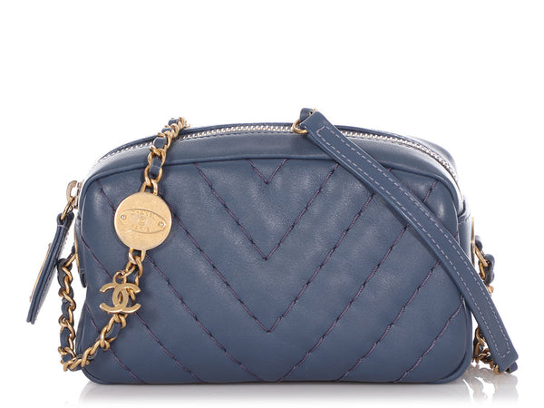 Chanel Mini Blue Chevron-Quilted Calfskin Crossbody Camera Bag