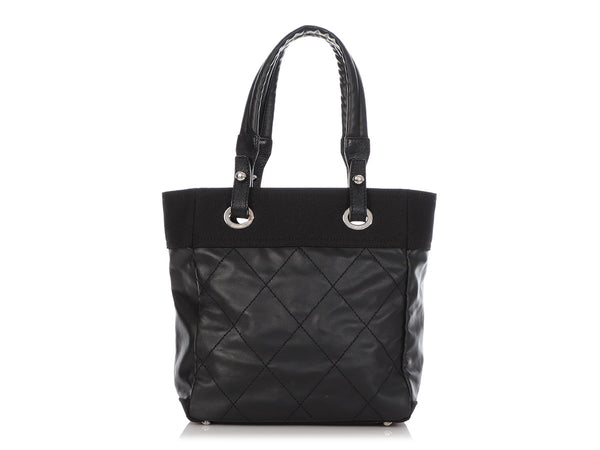 Chanel Small Black Part-Quilted Canvas Biarritz Tote