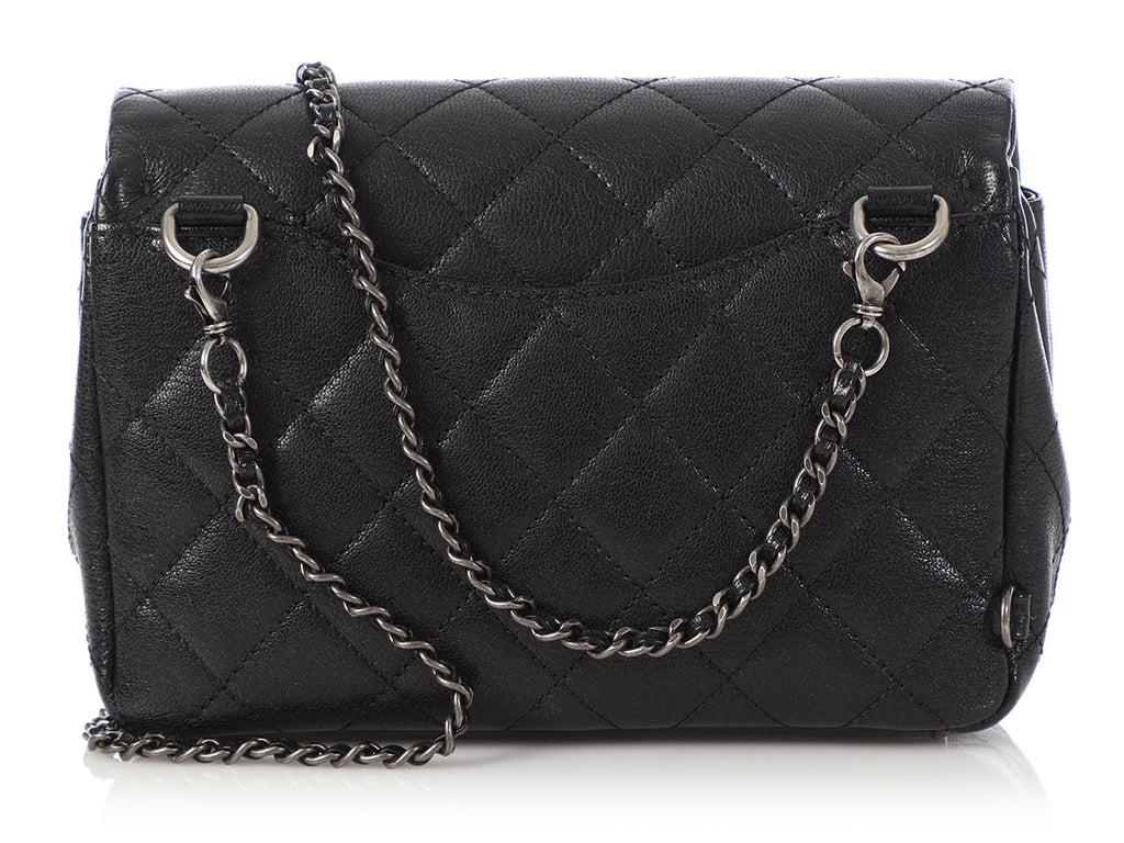 Chanel Black Shiny Goatskin Double Carry Waist Bag