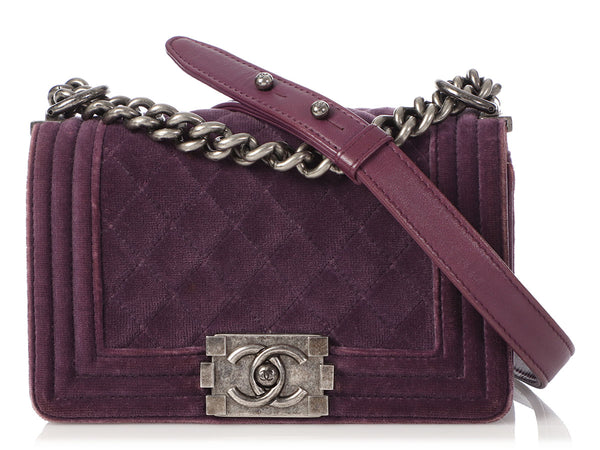 Chanel Mini Purple Part-Quilted Velvet Boy Bag
