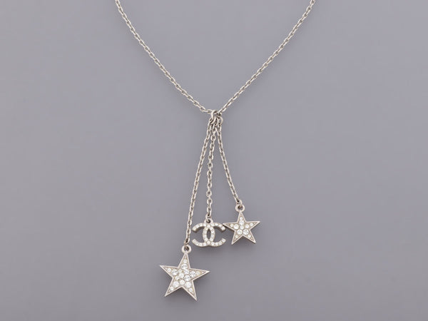 Chanel Crystal Stars Logo Drop Pendant Necklace