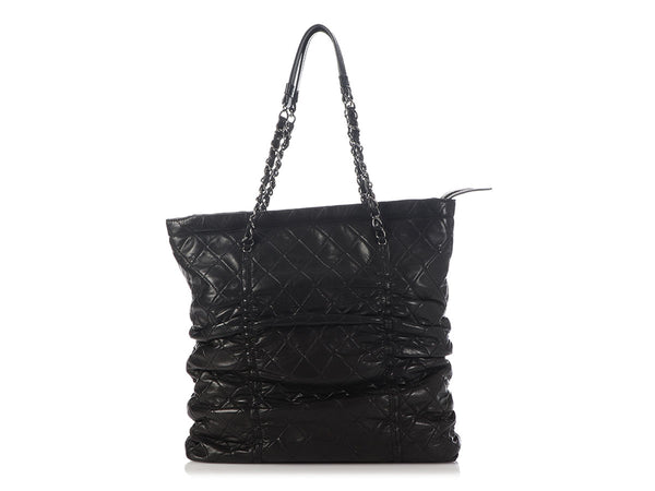 Chanel Black Quilted Lambskin Sharpei Shopping Tote