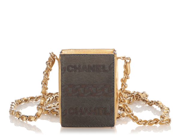 Chanel Mini Gold Leather and Olive Ponyhair Crossbody Cigarette Bag