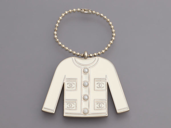 Chanel White Classic Jacket Bag Charm/Key Chain
