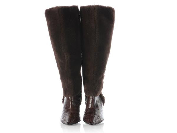 Chanel Brown Fur and Alligator Boots