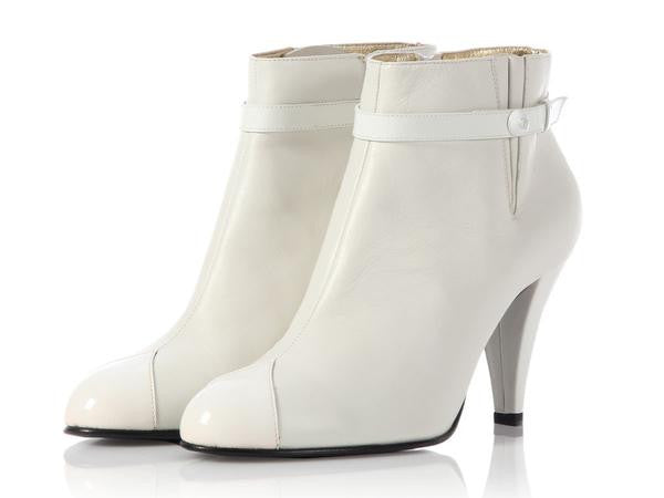 Chanel White Short Boots