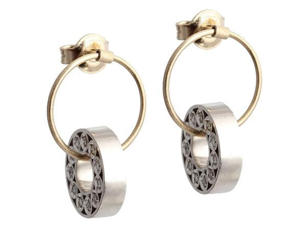 18K Yellow and White Gold Diamond Earrings