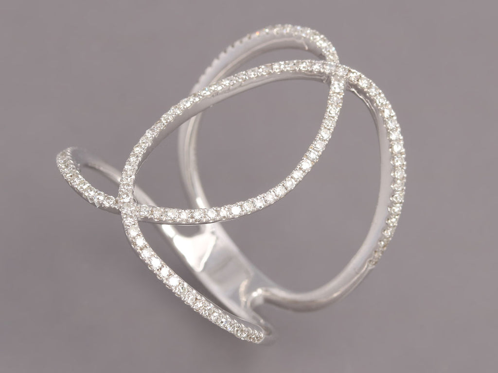 14K Gold Diamond Interlocking Oval Ring