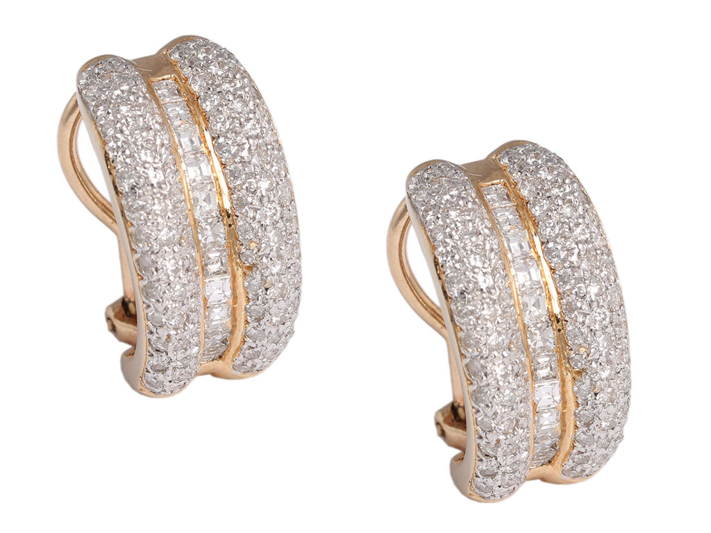 14K Yellow Gold 2.5 Carat Diamond Earrings
