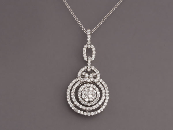 White Gold and Diamond Circle Pendant Necklace