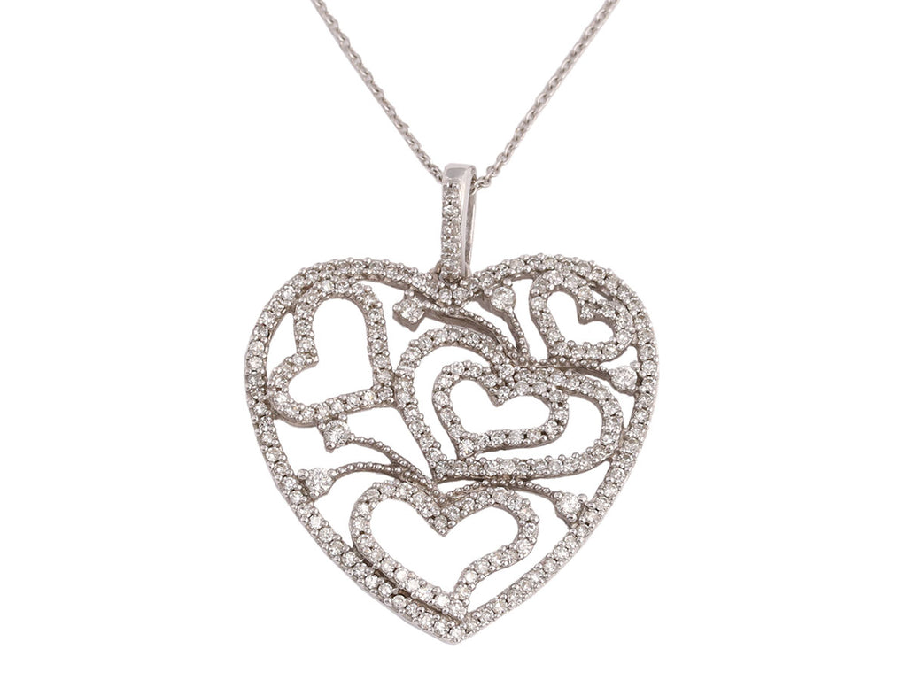 Diamond and 14K White Gold Heart Pendant Necklace