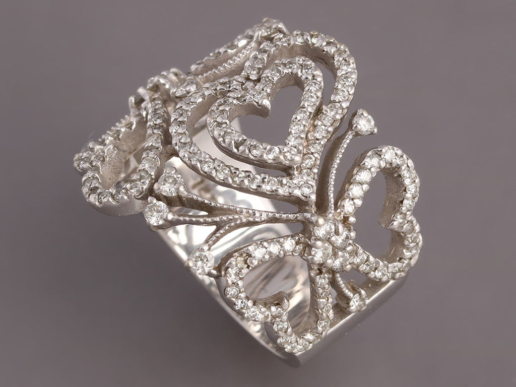 Effy Wide 14K White Gold and Diamond Heart Ring