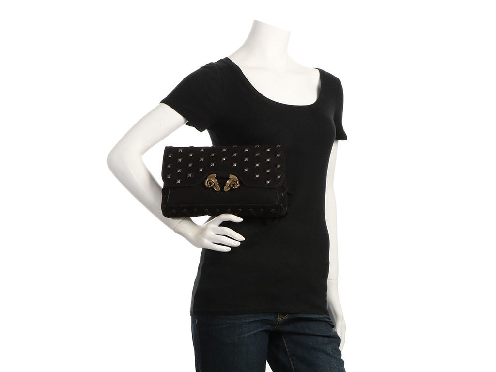 Derek Lam Black Powder Calf Studded Evie Clutch