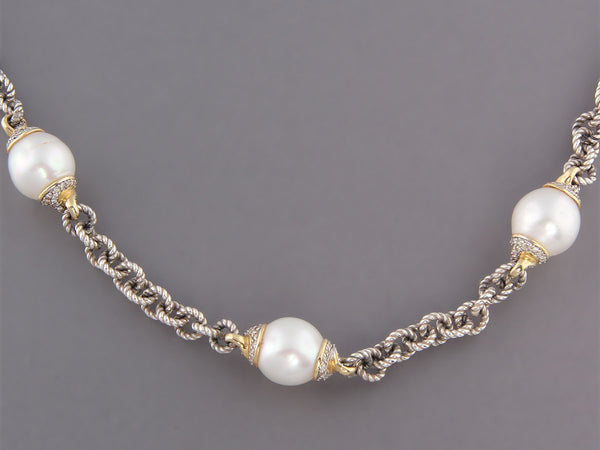 David Yurman Pearl and Diamond Necklace
