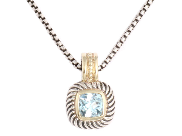 David Yurman Blue Topaz Petite Albion Pendant Necklace