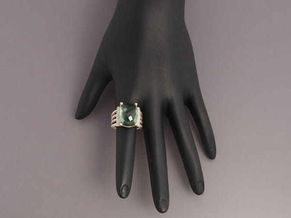David Yurman Prasiolite and Diamond Wheaton Ring