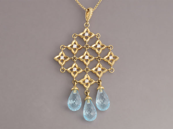 David Yurman Blue Topaz Quatrefoil Necklace