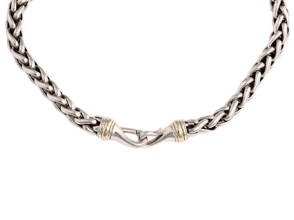 David Yurman Large Sterling Silver and 14K Gold Wheat Chain
