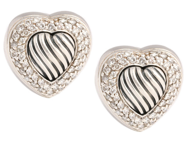 David Yurman Sterling Silver and Diamond Heart Earrings
