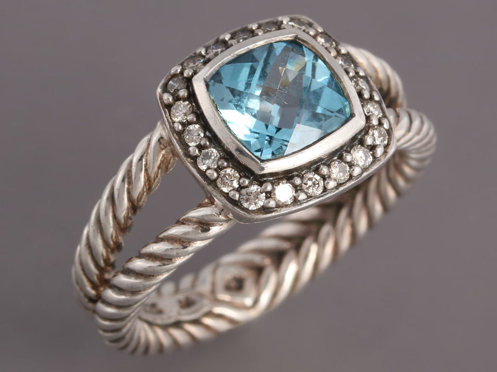 David Yurman Blue Topaz and Diamond Petite Albion Ring