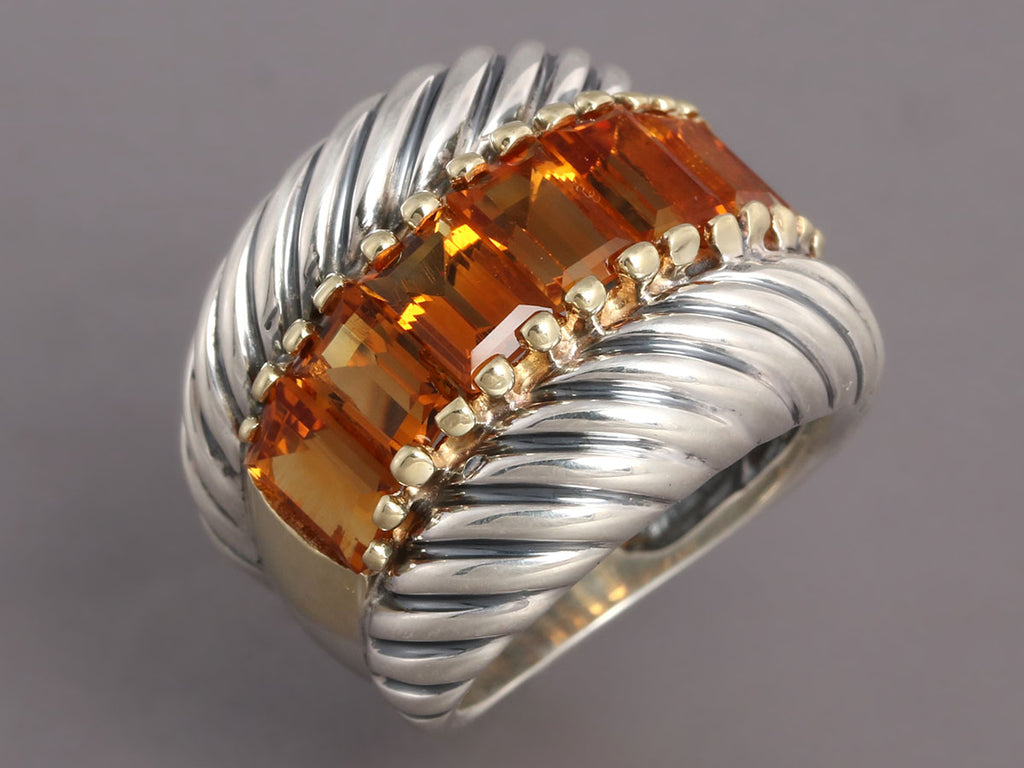 David Yurman Sterling Silver and 14K Gold Citrine Ring